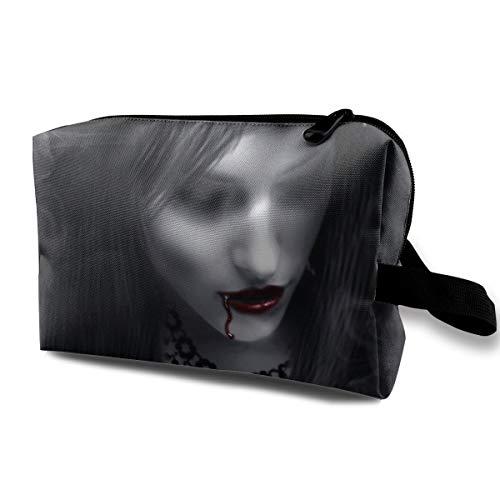 Halloween Zombie Bride Victorian Vampire Multi-function Travel Makeup Toiletry Coin Bag Case