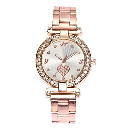 Crystal Geneva (Luxsea Women Classic Wristwatches Heart Watch Faux Chronograph Plated Geneva Quartz Ladies Crystals Diamond)