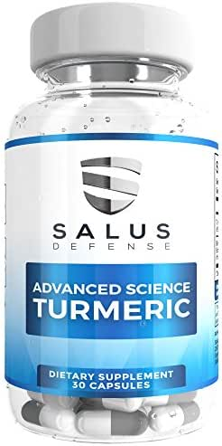 Salus Defense Advance Science Turmeric Capsules — 100% Organic Turmeric Curcumin Capsules With Bioperine for Antioxidant, Anti-inflammatory, Pain Relief & Joint Support — 30 Vegetarian Capsules