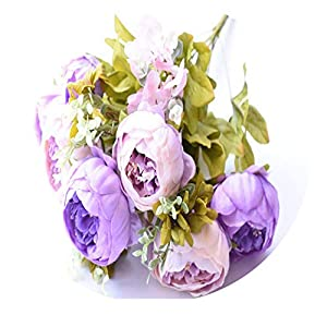 13 Heads/Bouque Artificial Flowers Hight Quality Silk Flower Fall Vivid Peony Fake Leaf Wedding Home Party Decoration Double Purple 2 72