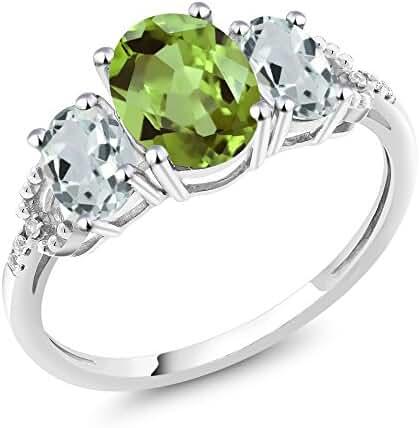 10K White Gold 2.24 Ct Oval Green Peridot Sky Blue Aquamarine 3-Stone Ring