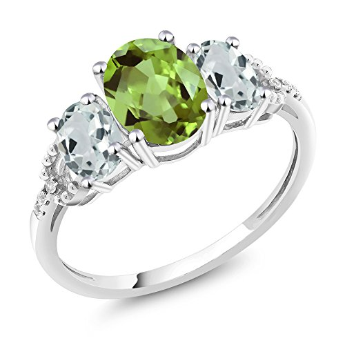 Gem Stone King 10K White Gold Oval Green Peridot Sky Blue Aquamarine and Diamond Accent 3-Stone Women's Engagement Ring 2.24 Ctw (Available 5,6,7,8,9) (Size 9) 10k White Gold Green