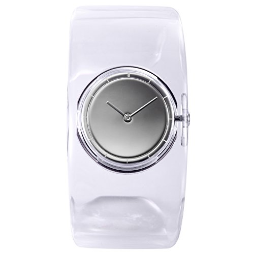 Issey Miyake O Women's Quartz Watch with White Dial Analogue Display and Transparent Resin Bangle SILAW001