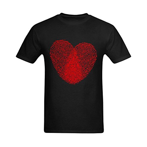 Zero-Start Men's Heart Fingerprint Clipart Red Art Design T-Shirt - Cool Style T Shirts US Size L -