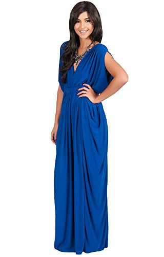 KOH KOH Petite Womens Long V-Neck Summer Grecian Bridesmaid Wedding Guest Flowy Formal Evening Slimming Vintage Maternity Gown Gowns Maxi Dress Dresses for Women, Cobalt / Royal Blue S 4-6 (1) (Vintage Vneck Dress)