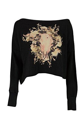 Denim & Supply Ralph Lauren Womens Black Bull Crochet Sweatshirt (Ralph Lauren Black Denim)