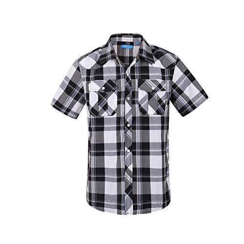Boy's Casual Short Sleeve Snap Plaid Button Down Shirt (#16 Black & White, 8)