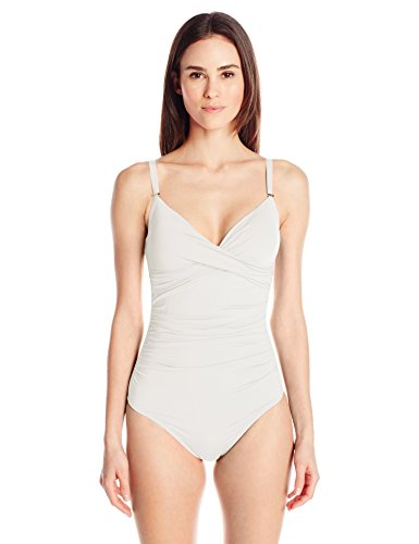 Calvin Klein Women's Twist One Piece Swimsuit With Sewn In Cups and Tummy Control, Milk, 12 by Calvin Klein