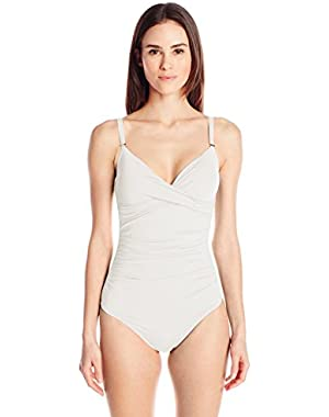 Women's Twist One-Piece Swimsuit with Sewn-In Cups and Tummy Control
