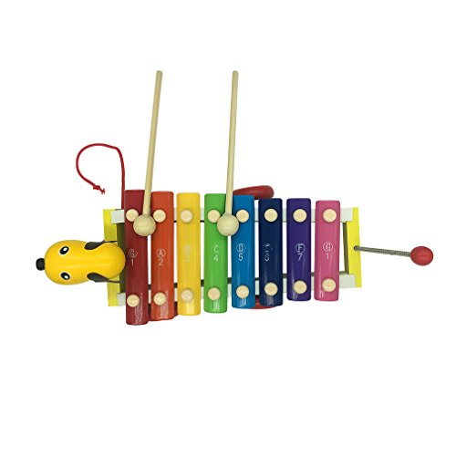 Finecase Xylophone Musical Instrument Toy, Wooden 8-Notes Hand Knock Musical Animal Xylophone 8 Keys Wooden Instrument Percussion With 2 Wood Mallets For Kids Musical Instrument