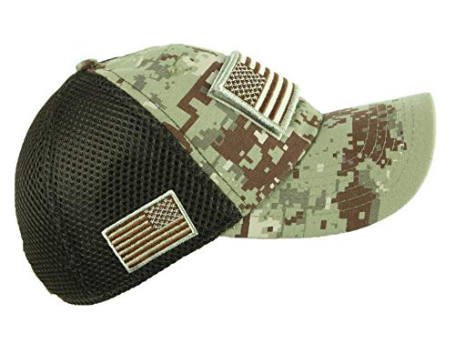 90210 Wholesale USA American Flag Baseball Cap Patch Trucker Army CAMO Hat Hunting Tactical Caps (D.G Desert Camo)