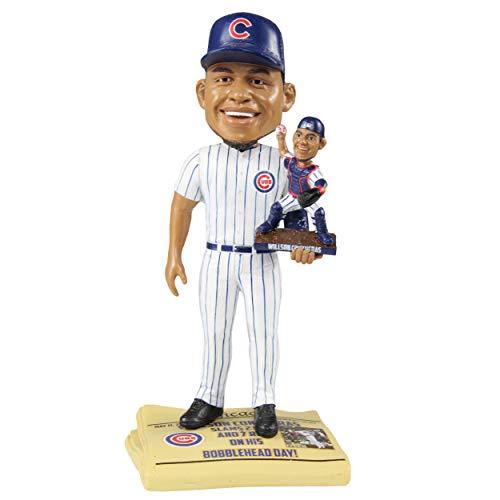 (Willson Contreras Chicago Cubs Bobblehead Day Dual Bobblehead Newspaper Base Bobblehead MLB)