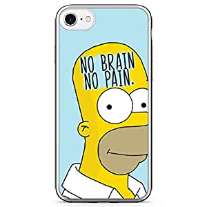 iPhone 7 Transparent Edge Phone Case Simpson Phone Case No Brain iPhone 7 Cover with Transparent Frame