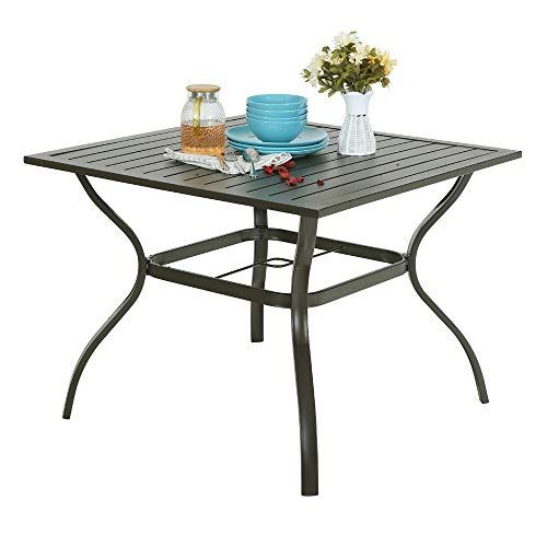 PHI Villa Metal Steel 37 inch Patio Slat Dining Table with Umbrella Hole - - Inch Metal 37