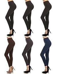 "MOPAS 6-pack: Seamless Fleece Lined Leggings - Stretchy Multi Colors""."
