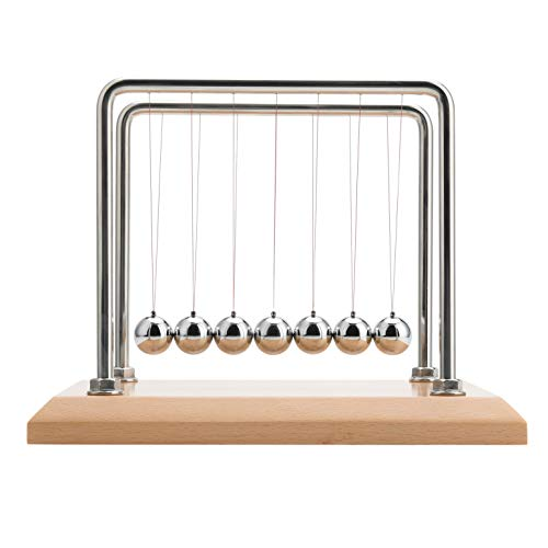 CERROPI 7 Balls Newton's Cradle - 11 Inch,Swing 50 Sec, 8mm Stainless Steel Frame, Nano-Tech String, Beech Base