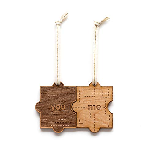 You & Me Puzzle Piece Laser Cut Wood Ornament (Valentine's Day/Christmas/Holiday/Love/Anniversary/Couples) (Italian Please Merry Christmas In)