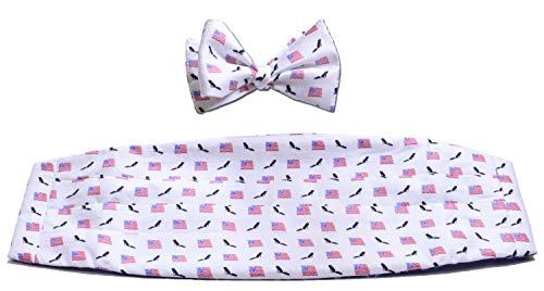 American Flags & Eagles Cummerbund & Bow Tie Set - Forth of July Special (White)