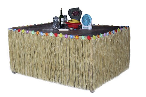 (Fighting to Achieve Hawaiian Hibiscus Table Skirt with Color String & Silk Faux Flowers Party Decoration, Straw 9 FT)