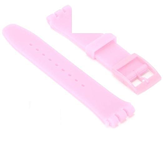 My-Watch - Correa de Reloj Swatch Rosa Claro de Silicona, 19 mm: Amazon.es: Relojes