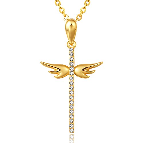 8Muses Angel Wings Cross Pendant Necklace Simulated Diamond 925 Sterling Silver Women Necklace By, 16
