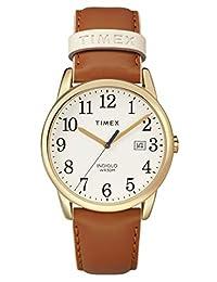 Timex - Reloj de pulsera para mujer (correa de piel, 38 mm), Marrón/Dorado, Una talla