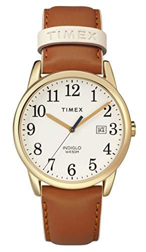 (Timex Women's TW2R62700 Easy Reader 38mm Brown/Gold-Tone Leather Strap Watch)
