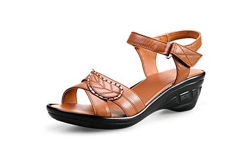 Sandalia Marrón ancho Material Sólido Abierta Suave Mujeres Tacón Velcro AgooLar Puntera zfpq7BWWw