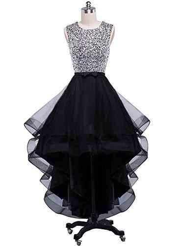 Beauty-Emily Party Dresses Women\'s Floor Length Beaded Black Scoop Neck  Elegant Layered Dress Plus size Black, Size US 18 Plus Size
