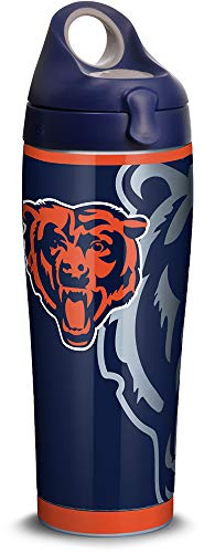 (Tervis 1305173 NFL Chicago Bears Rush Stainless Steel Insulated Tumbler with Navy with Gray Lid, 24oz Water Bottle, Silver )