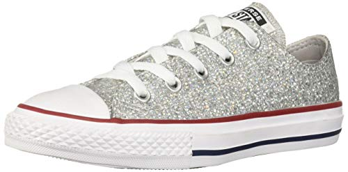 Converse Girls Kids' Chuck Taylor All Star Sport Sparkle Low Top Sneaker, Mouse/Enamel Red/White, 4 M US Big -