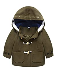 TXYSEFS Boys Jacket Warm Coat Hooded Outwear Wooden Button Overcoat