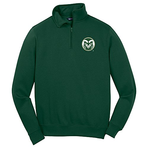 NCAA Colorado State Rams Men's 1/4 Zip Pullover, Medium, Forest Green by Campus Merchandise