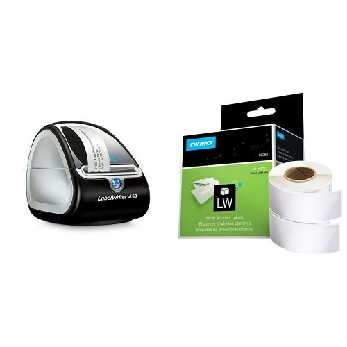 DYMO LabelWriter 450 Thermal Label Printer with 2 Extra roll of 350 White Mailing Address Labels by DYMO