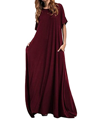 Kidsform Women Maxi Dress Loose Round Neck Short Sleeve Long Solid Plain Dress with Pocket Wine Red XL ()