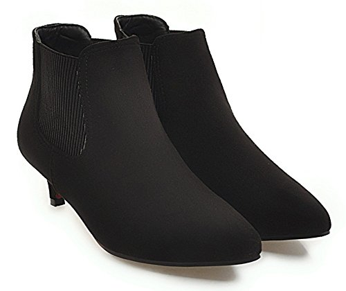 Boots Pull Aisun Pointy Stilettos Elastic Kitten Chelsea Booties Toe Black On Women's Heel 588FrwqY