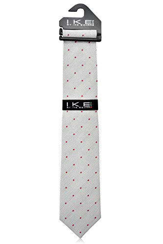 Ike Behar Boys 52'' Grey And Red Poka Dot Tie by Ike Behar (Image #2)