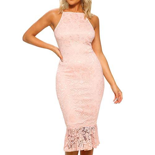 YANG-YI Sale! Women Sleeveless Short Dress Halter Embroidery Skirts Patchwork Back Zipper Hem Midi Dress - Patchwork Madras Pink