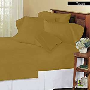 { 6 PCs Sheet Set } 27 inches Deep Pocket Solid Pattern 100% Egyptian Cotton 600 Thread Count ( Olympic Queen , Taupe ) .
