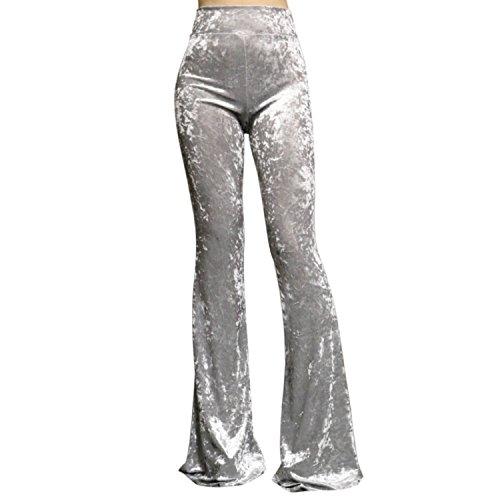 ShopMyTrend SMT Women's High Waist Wide Leg Long Bell Bottom Yoga Pants X-Large Velvet Silver