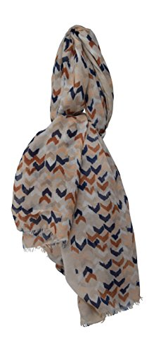 Lightweight Painted Arrowhead Patterned Multi-Color Chevron Sheer Fringed Scarf (Brown/Navy)