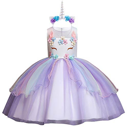 Flower Girls Kids Rainbow Unicorn Costume Birthday Cake Smash Outfits Fancy Cosplay Princess Tulle Tutu Dress up Wedding Pageant Halloween Formal Dance Evening Gown with Headband C-Purple 4-5]()