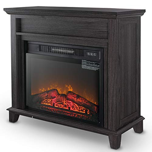 "Della 32"" Wooden Grey Finish Push Button Freestanding Insert Electric Fireplace Stove Heater for Living Room Home"