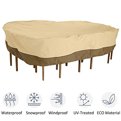 kdgarden Outdoor Rectangular/Oval Patio Table and Chairs Set Cover, Heavy Duty Waterproof 600D Large Furniture Set Cover for All Weather Protection, 88