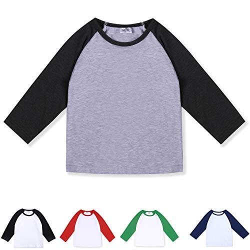 CloudCreator Toddler Baby Girls Boys Long Sleeve Shirts Raglan Shirt Baseball Tee Cotton T-Shirt (Grey&Deep Grey, 1-2 Years)