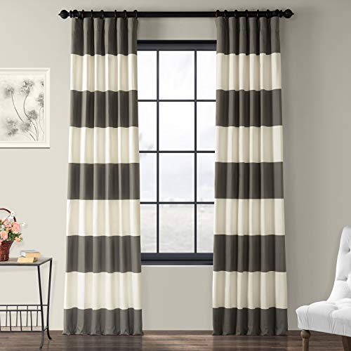 - PRCT-HS02-96 Horizontal Stripe Cotton Curtain, Slate Grey & Off/White