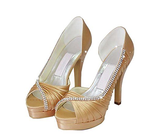Minishion Womens Mz542 Geplooide Satijnen Bruids Bruiloft Avond Prom Sandalen Sandalen-champagne