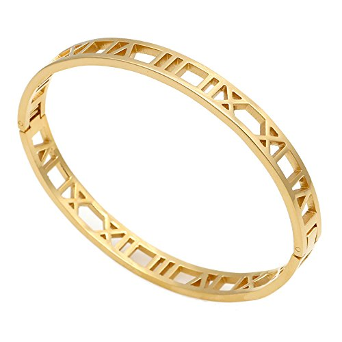 (iMoyoko Women Men Gold -Plated Stainless Steel Narrow Pierced Hinged Bangle Bracelet (Gold))