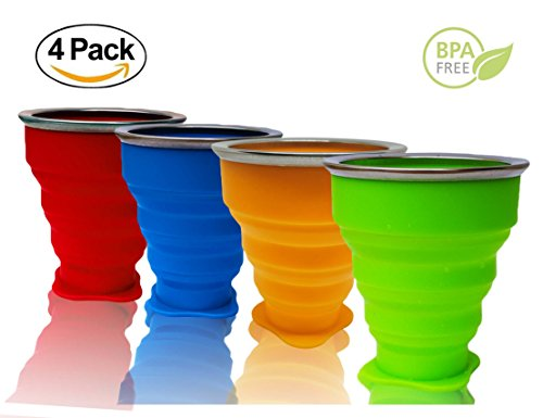 Foldable Travel Mug, Collapsible Travel Cup, 8oz Food-Grade Portable Folding Coffee Mug for Hiking Camping Outdoor Sports, BPA Free & FDA Approved, Suitable For Kids (4, Mix Colors)