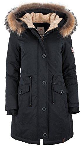 6M88 Damen Wintermantel Arctic Parka TARORE mit Echtfellkapuze Schwarz